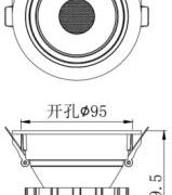 AW-DL5435 35W cut size 95 mm recessed downlight size