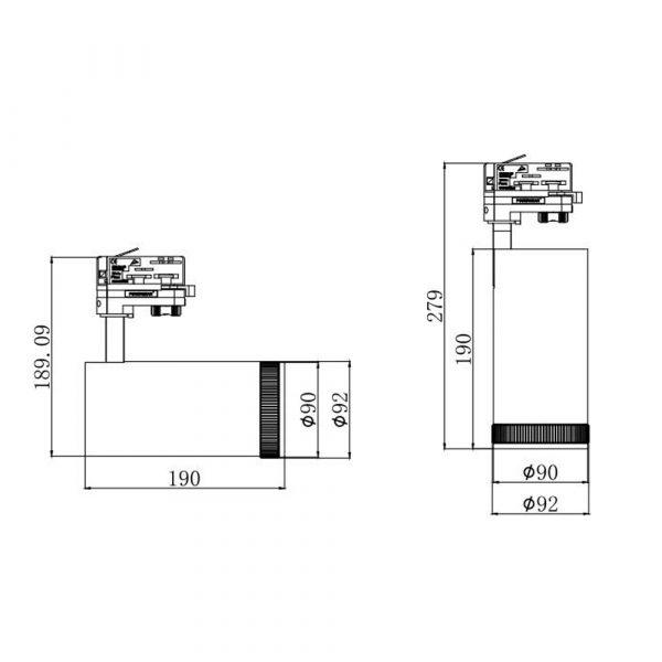 PS-TL35L92 zoom LED track light fixtures 4